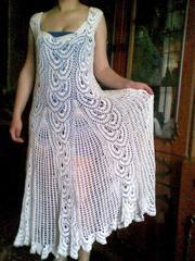 Белое платье  Ручная работа 46-48 размер